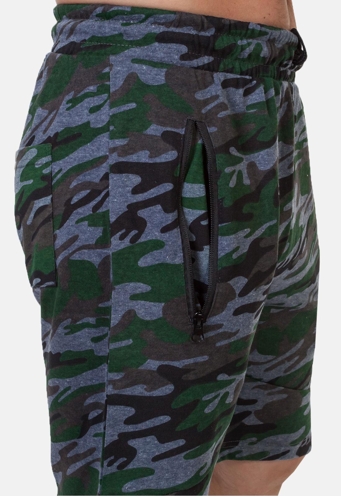 Крутые милитари шорты удлиненного фасона с нашивкой РХБЗ - заказать оптом