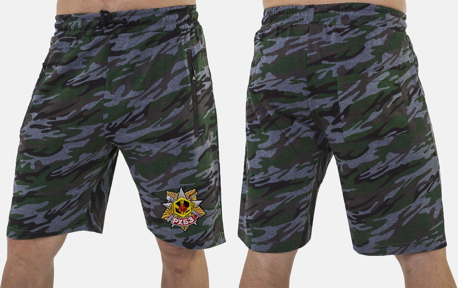 Крутые милитари шорты удлиненного фасона с нашивкой РХБЗ - заказать по низкой цене