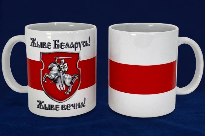 "Кружка ""Жыве Беларусь!"" с бело-красно-белым флагом"
