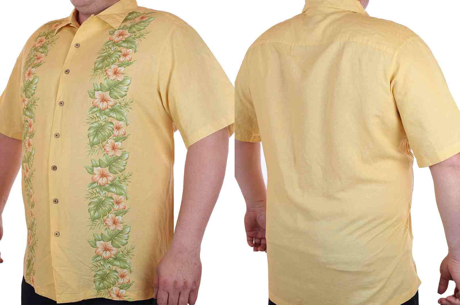 Курортная рубашка больших размеров (батал) для высоких мужчин Caribbean Joe-двойной ракурс
