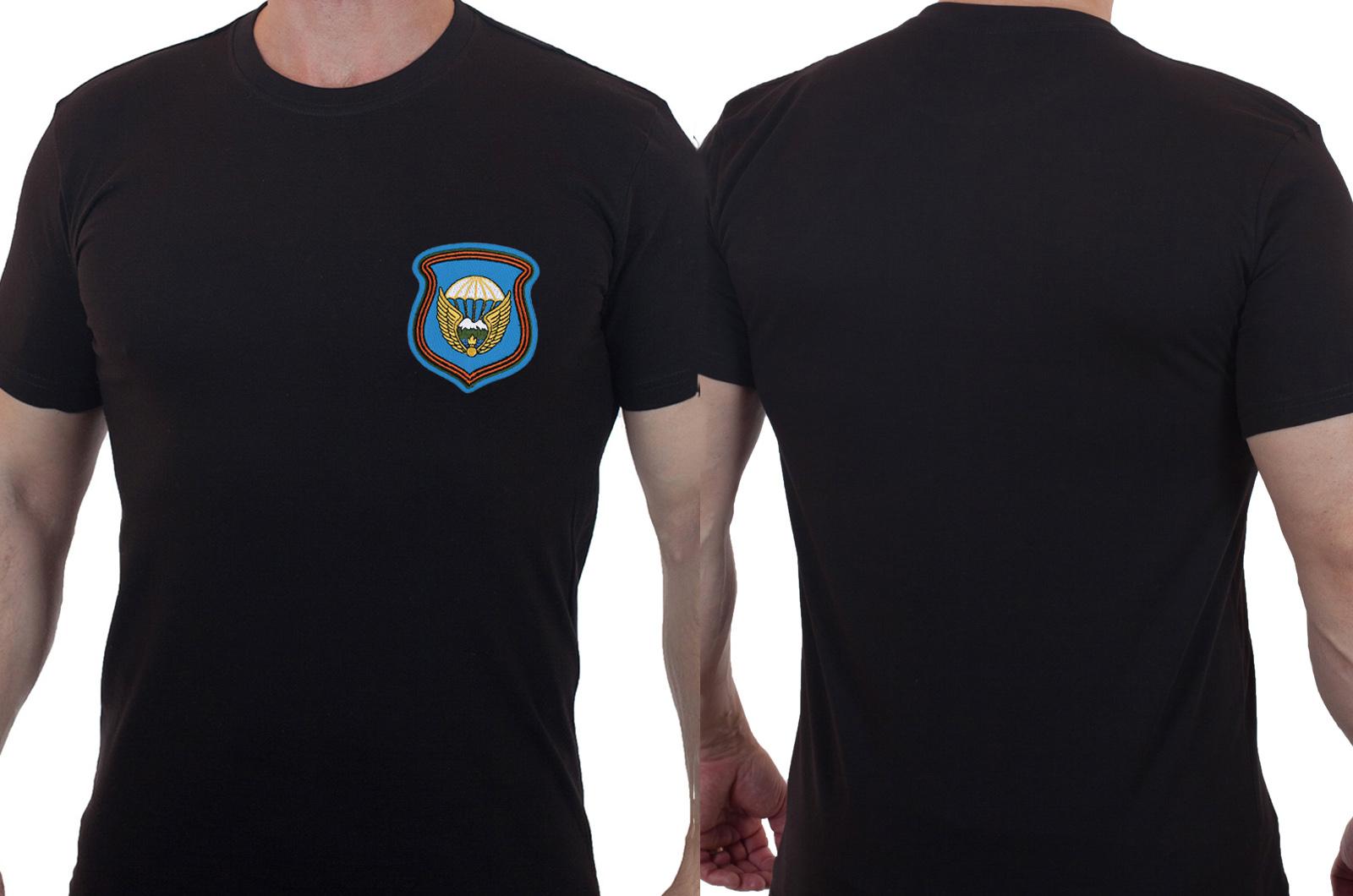 Лаконичная футболка с вышитой эмблемой 7 гв. ДШД - заказать оптом