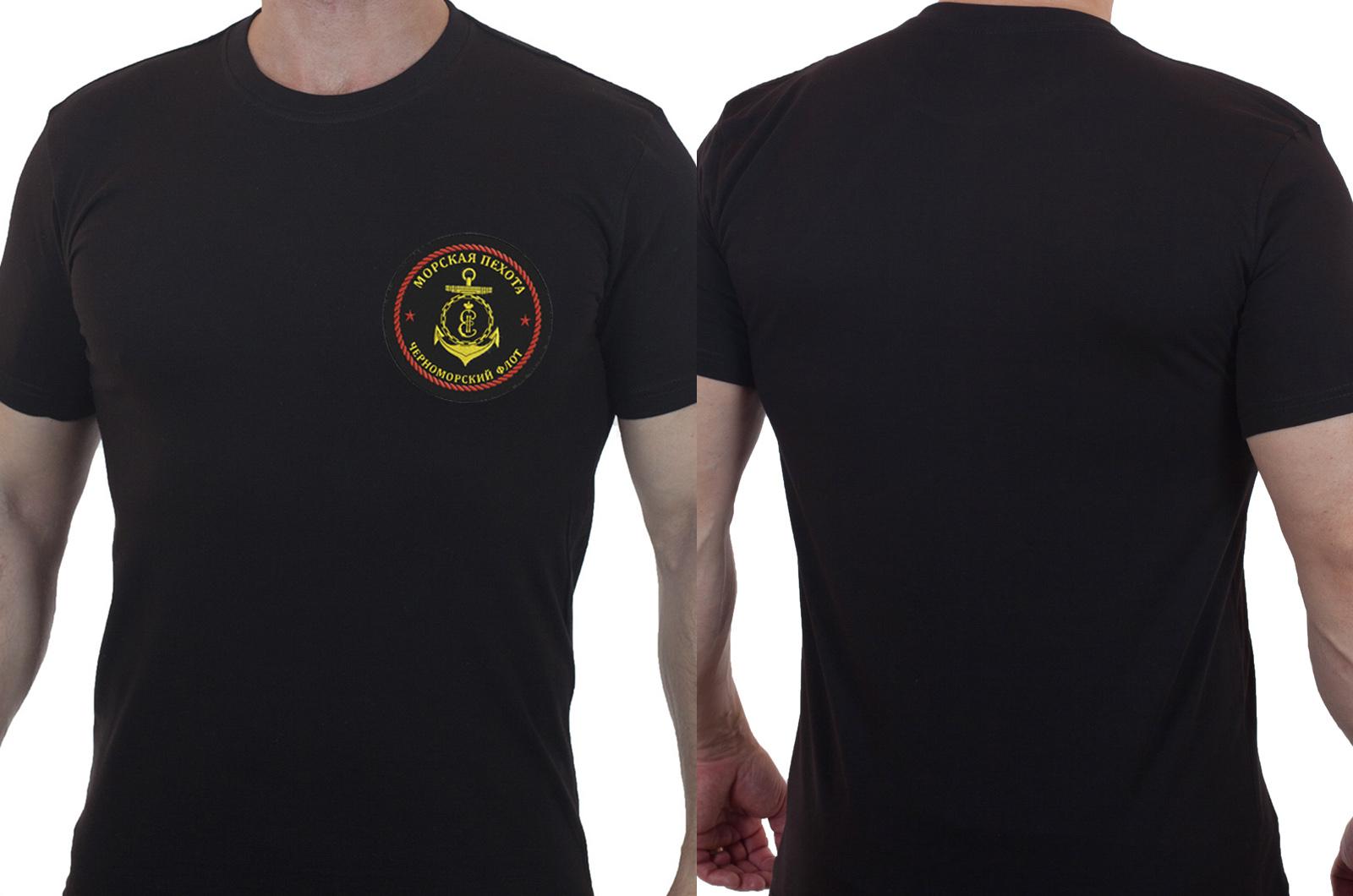 Лаконичная футболка с вышивкой Морская Пехота ЧФ - заказать в розницу