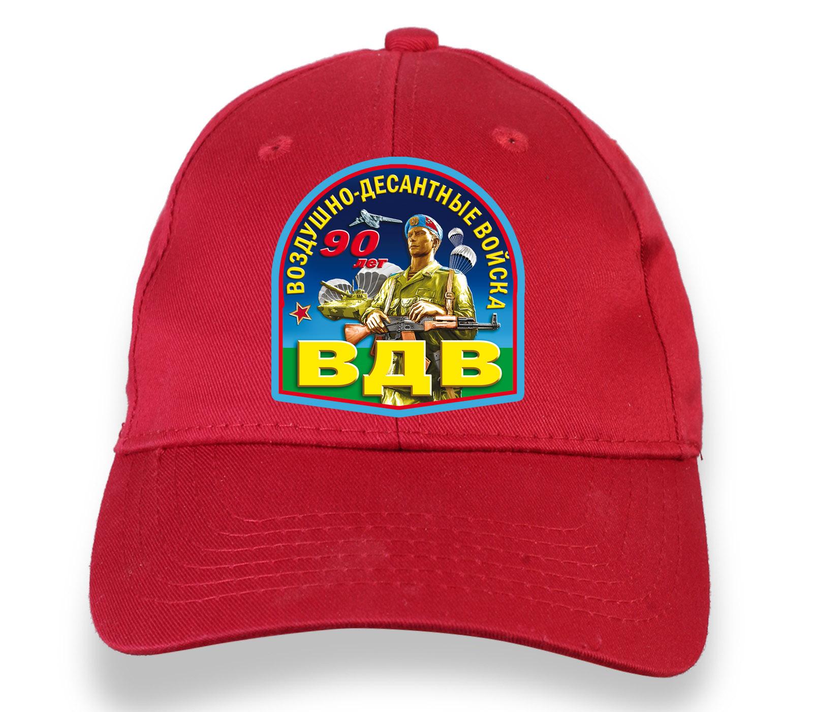 Купить красную бейсболку с термотрансфером 90 лет ВДВ онлайн выгодно