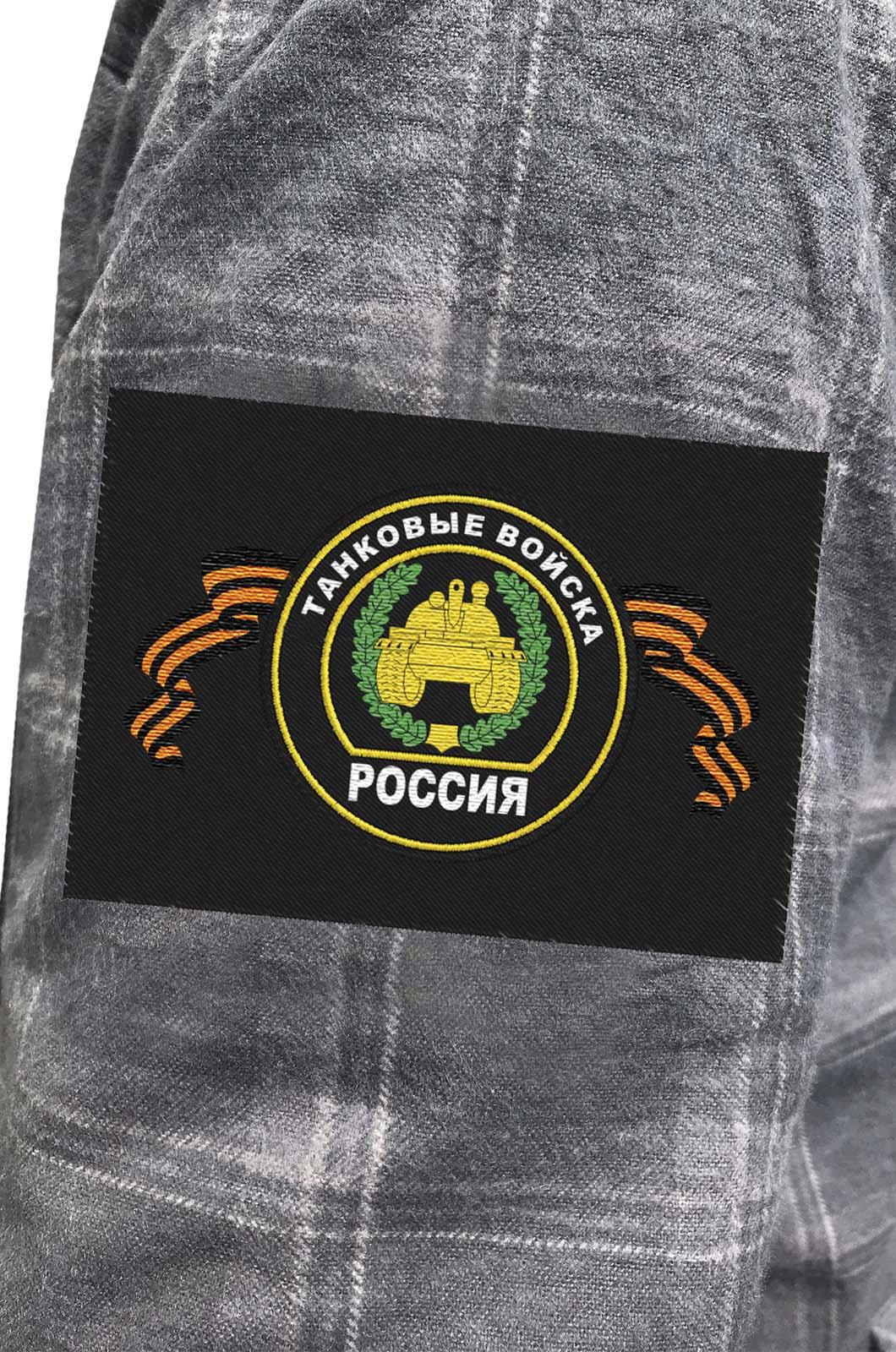 Лаконичная рубашка с вышитой эмблемой Танковые Войска - купить в Военпро