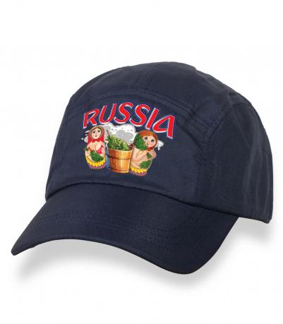 Лаконичная темно-синяя бейсболка с термотрансфером Russia