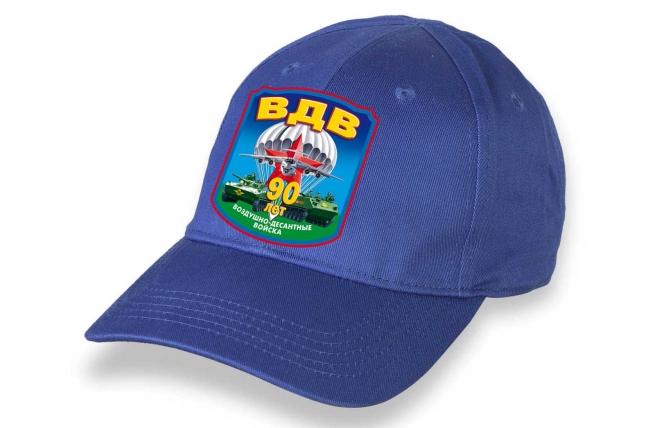 Ярко-синяя бейсболка с термотрансфером ВДВ 90 лет