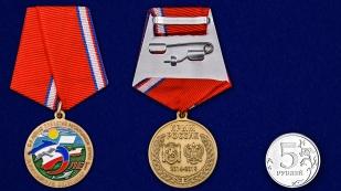 Латунная медаль к 5-летию принятия Республики Крым в Российскую Федерацию - сравнительный вид