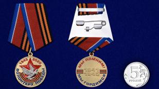 Латунная медаль Волонтеру Победы в футляре - сравнительный вид