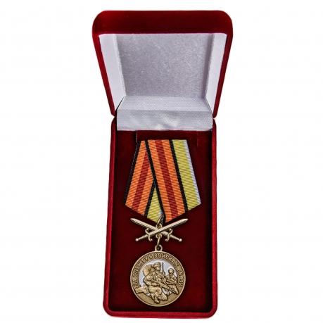 Латунная медаль За службу в Войсках связи - в футляре
