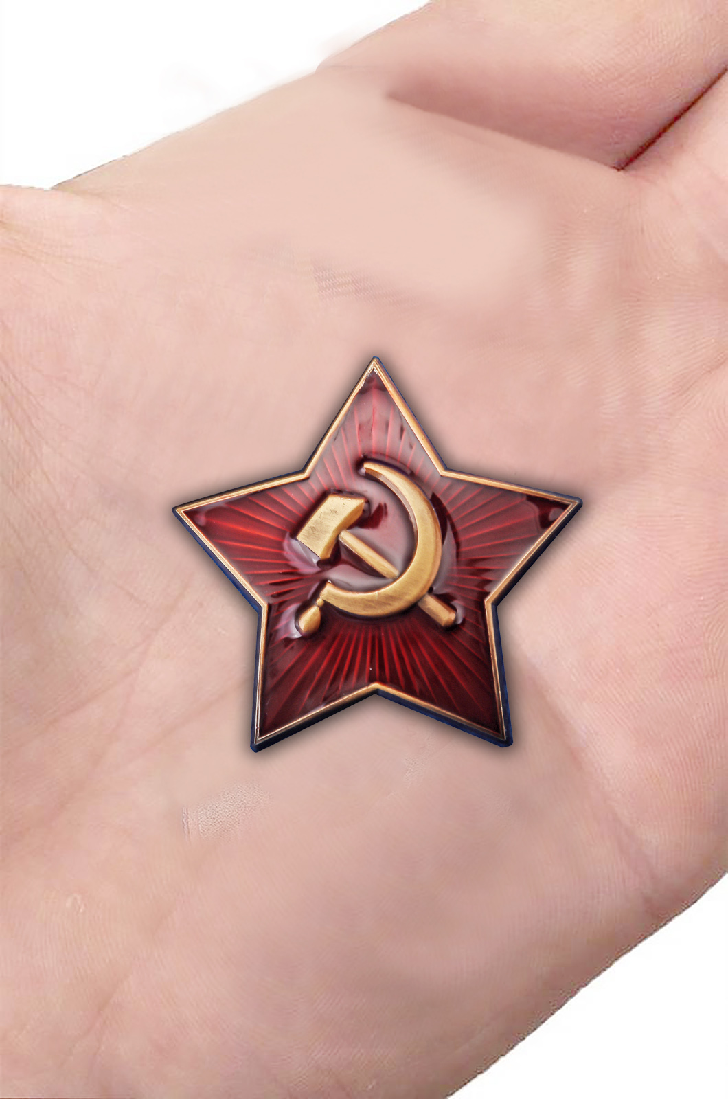 Латунная звезда кокарда РККА 1922 г. - вид на ладони