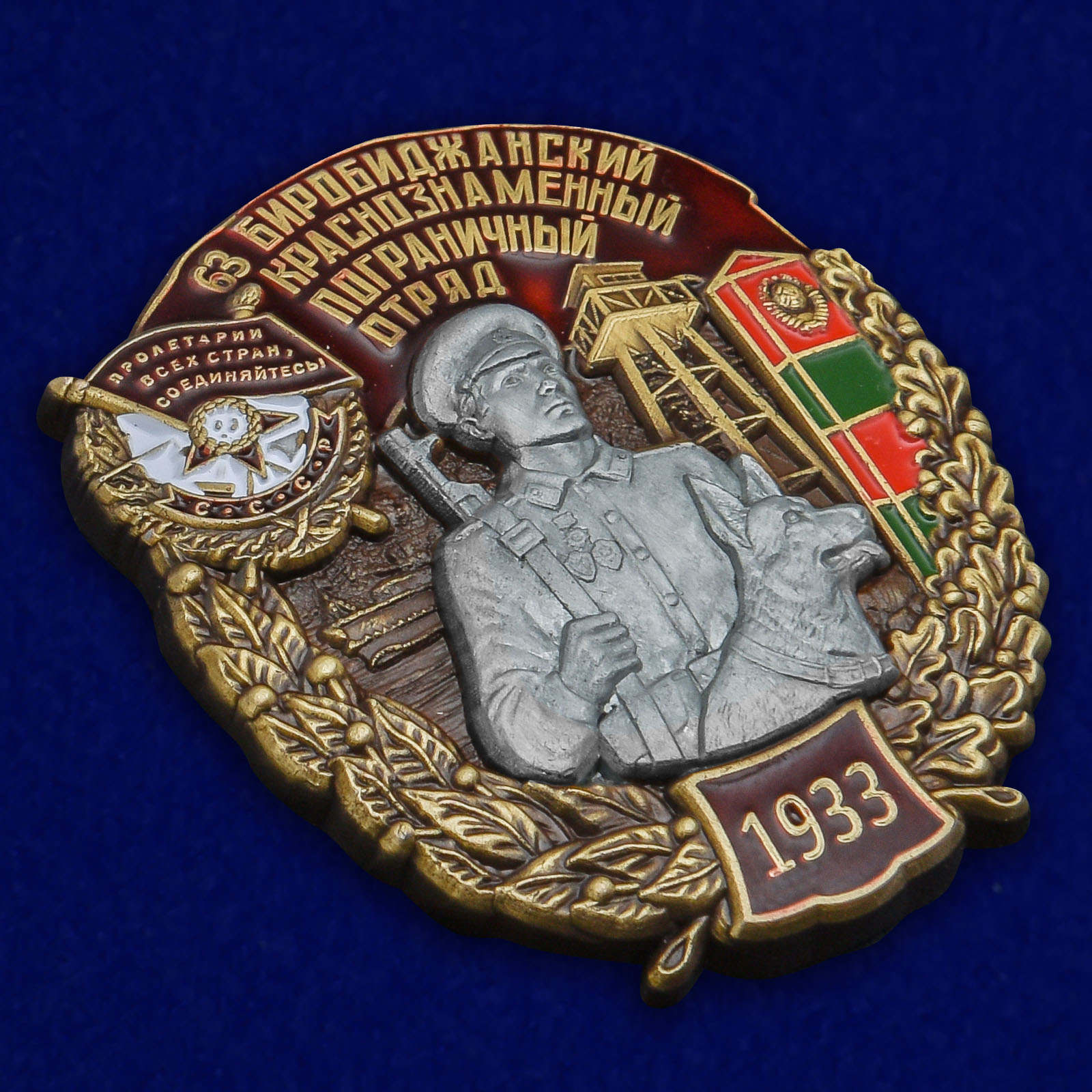 Латунный знак 63 Биробиджанский Краснознамённый Пограничный отряд - общий вид