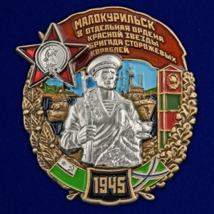 Латунный знак 8 отдельная бригада сторожевых кораблей Малокурильск - общий вид