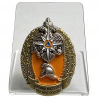 Латунный знак Лучший инспектор ГПН МЧС России  на подставке