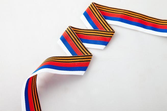 Ленточка России с георгиевской полоской (2,5 x 50 см)