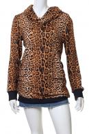 Леопардовая кофта-худи с воротом-хомутом