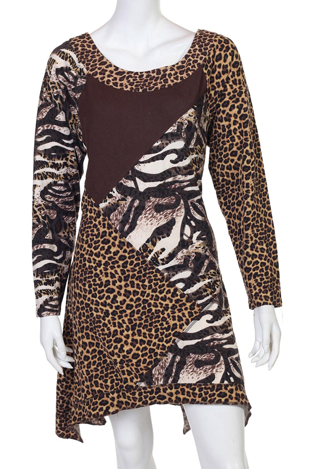Леопардовое платье с геометрическими вставками