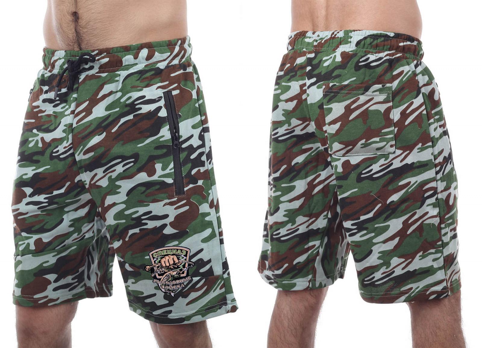 Летние мужские шорты с рыбацкой нашивкой Спецназ рыболовных войск купить в подарок