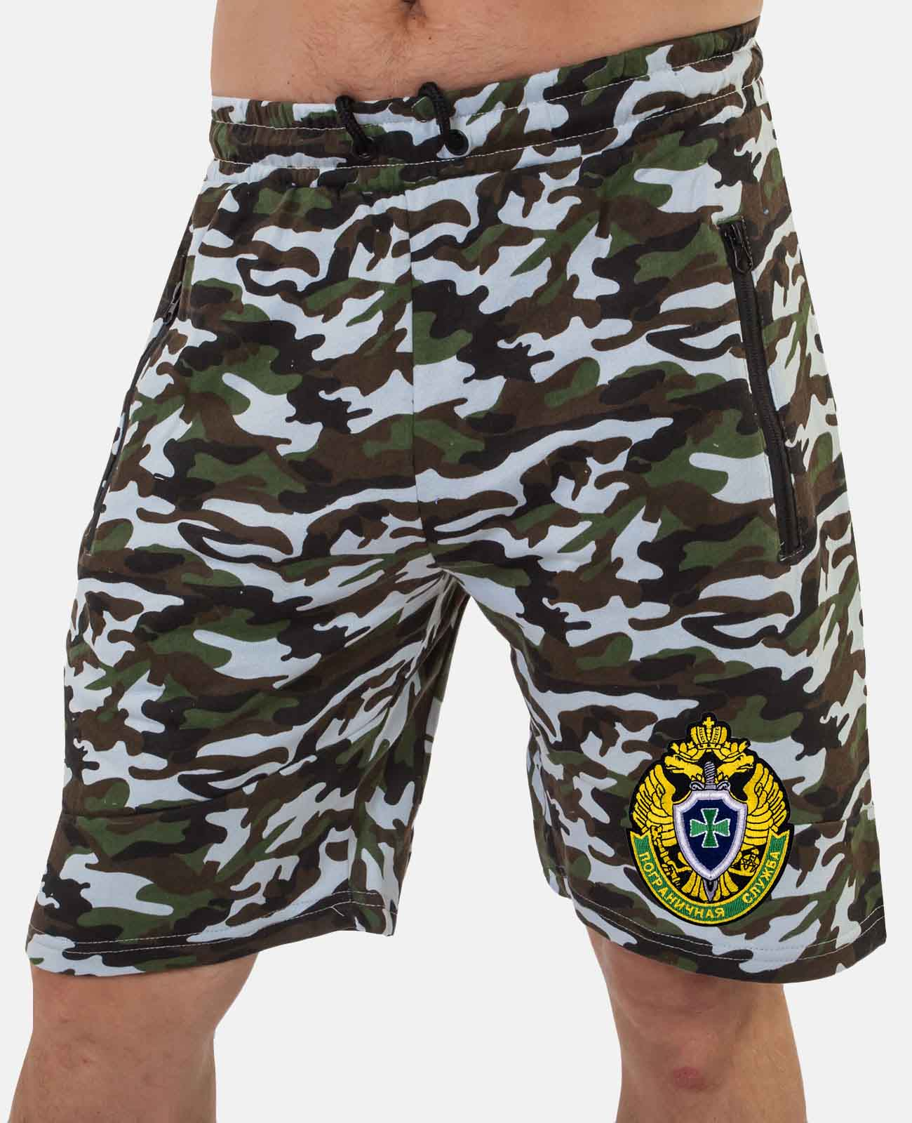 Летние мужские шорты в камуфляжной расцветке с шевроном ПС купить в подарок