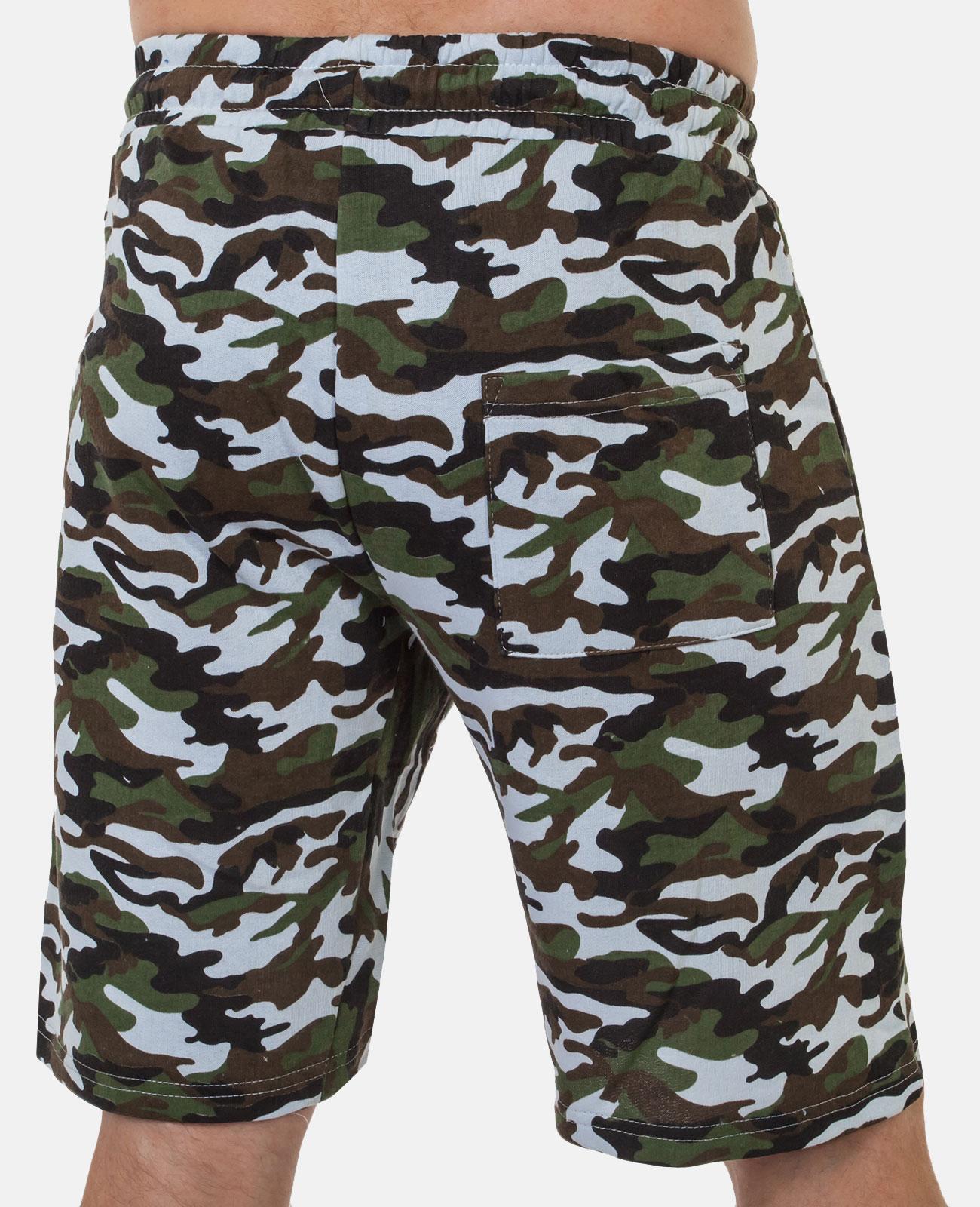 Заказать летние мужские шорты в камуфляжной расцветке с шевроном ПС