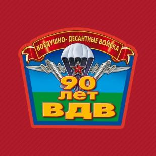 Летняя красная бейсболка с термонаклейкой 90 лет ВДВ