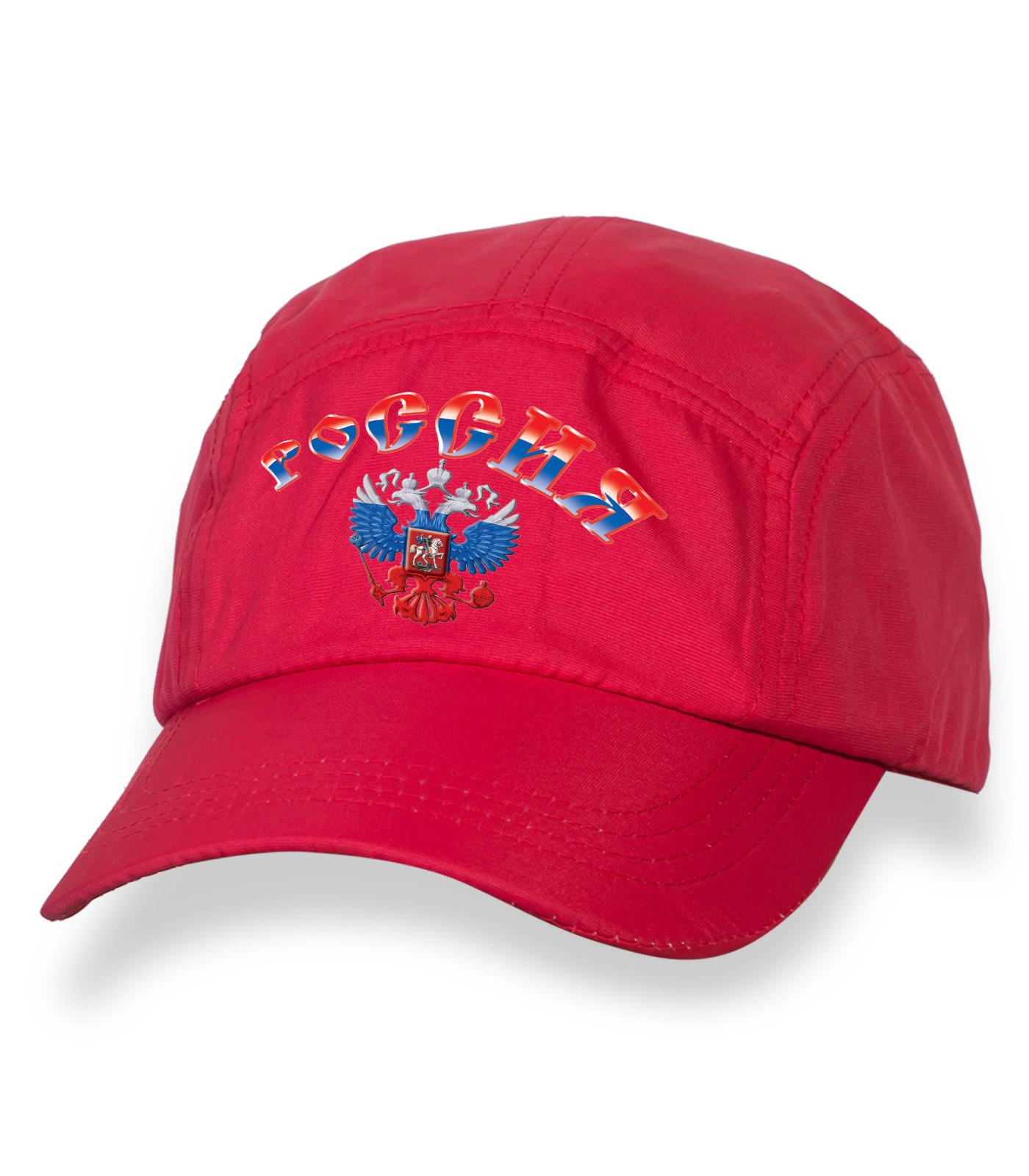 Летняя красная  бейсболка с термотрансфером РОССИЯ
