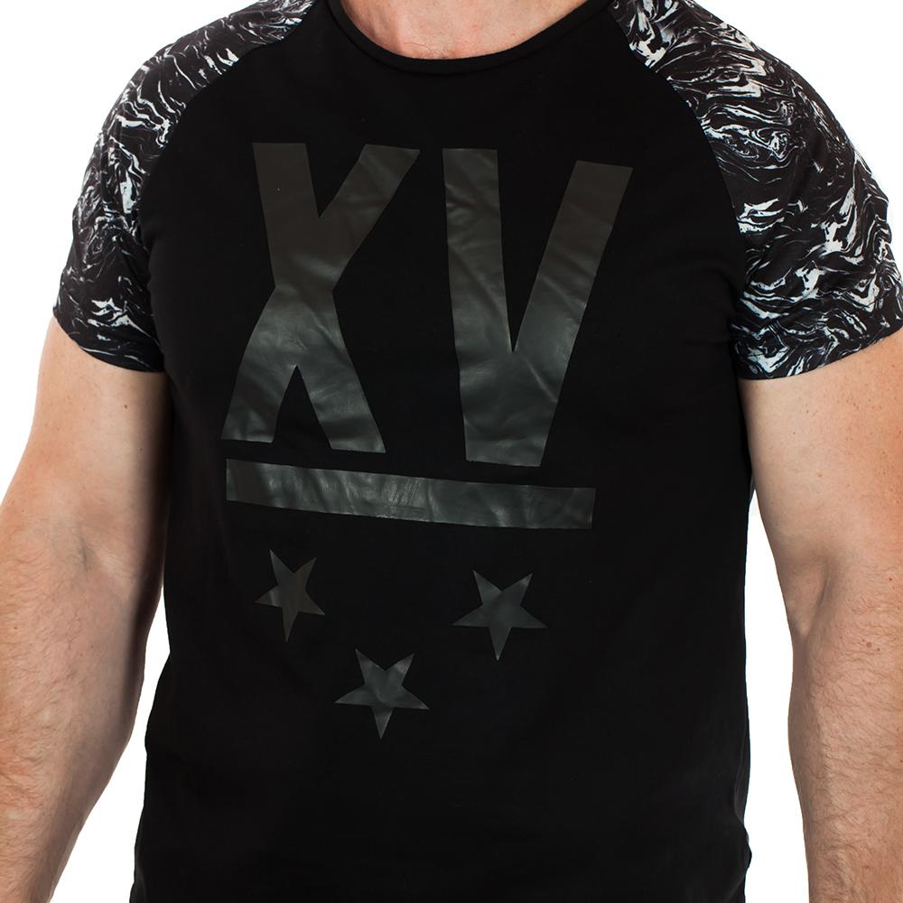 Летняя мужская футболка с трёхзвездной эмблемой и контрастными рукавами. Новинка от дизайнеров SPLASH