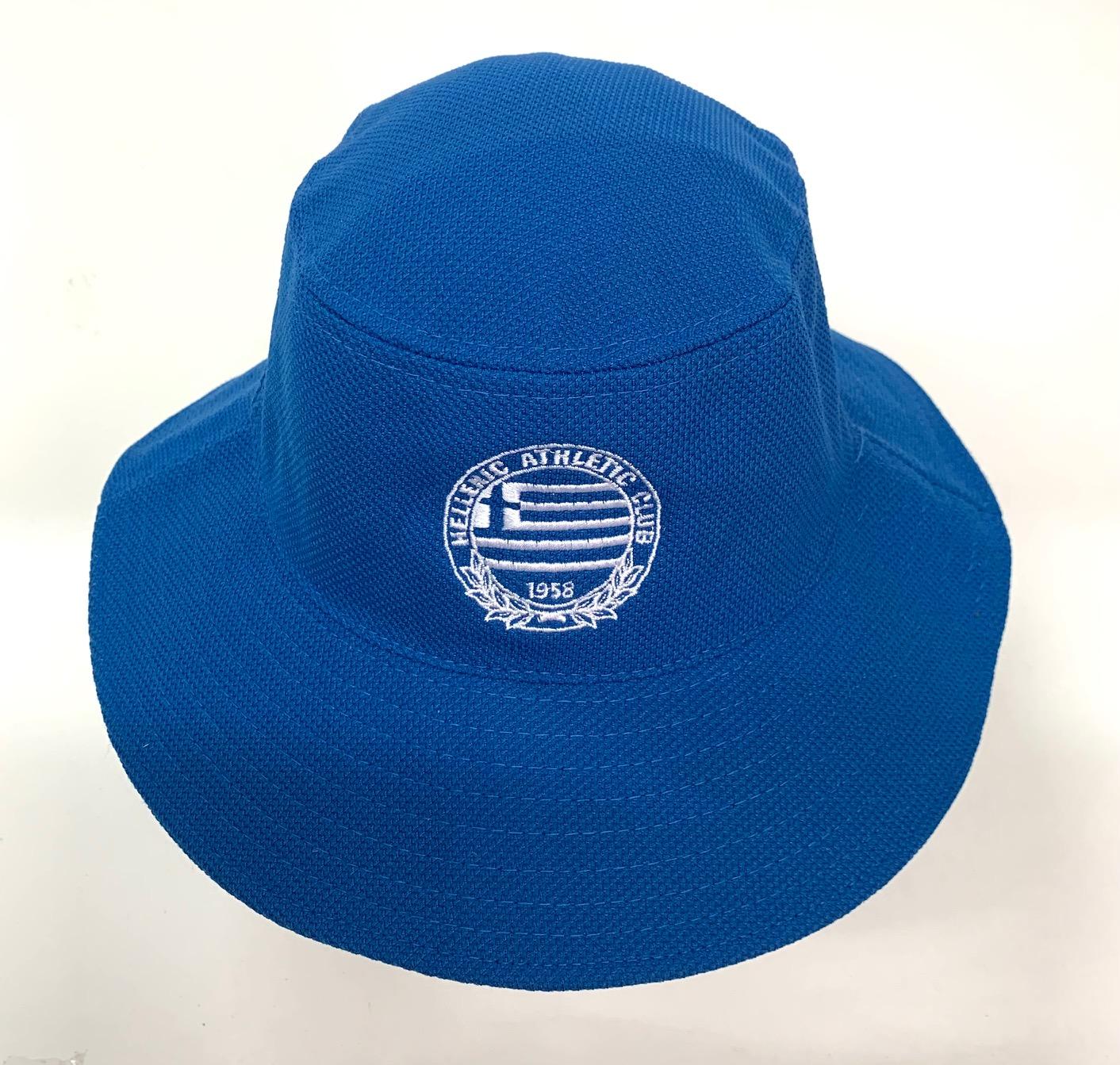 Летняя панама синего цвета с белой вышивкой