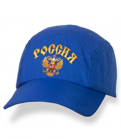 Летняя синяя бейсболка с термонаклейкой Россия