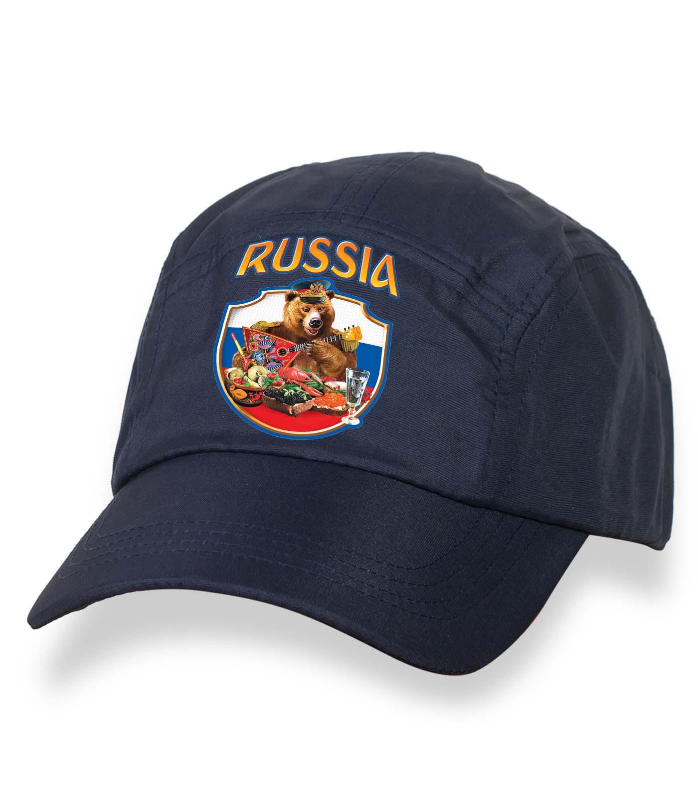 Лучшая темная бейсболка с термонаклейкой Russia