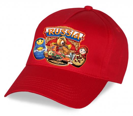 """Лучший подарок по любому поводу - красная бейсболка """"Russia"""" с медведем и матрешками. Яркая, эффектная, мега-популярная. Достойное качество по супер-цене, заказывайте!"""