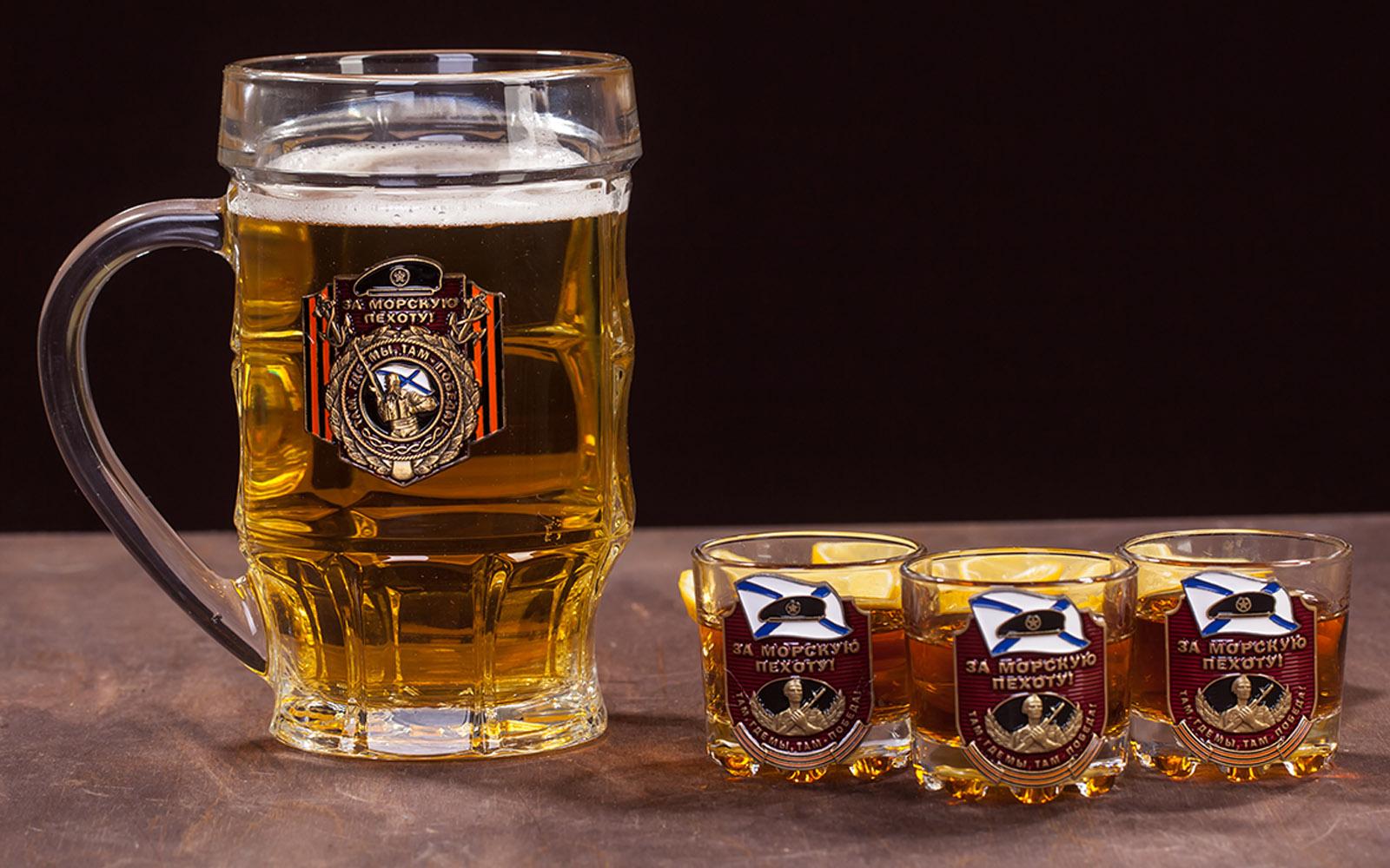 """Лучший стеклянный набор для алкоголя """"За Морскую пехоту!"""" по лучшей цене"""