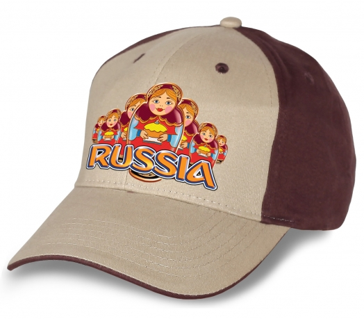 """Лучший выбор болельщиков и патриотов - модная бейсболка """"Russia матрешки"""". Оригинальный головной убор из натурального хлопка. Достойное качество по супер-цене!"""