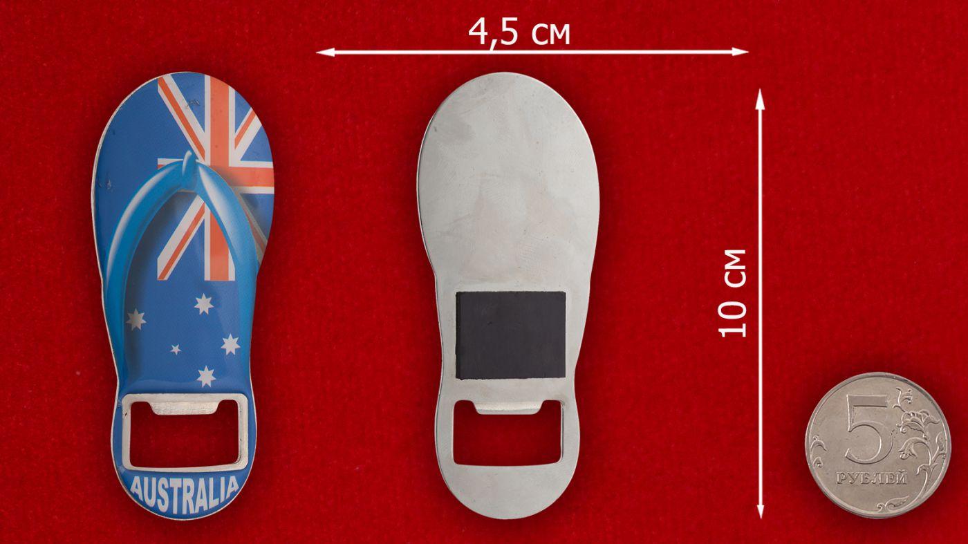 """Магнит-открывалка """"Австралия"""" - сравнительный размер"""