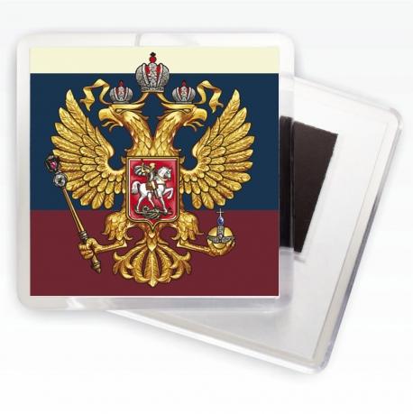 Магнит с гербом России на фоне триколора