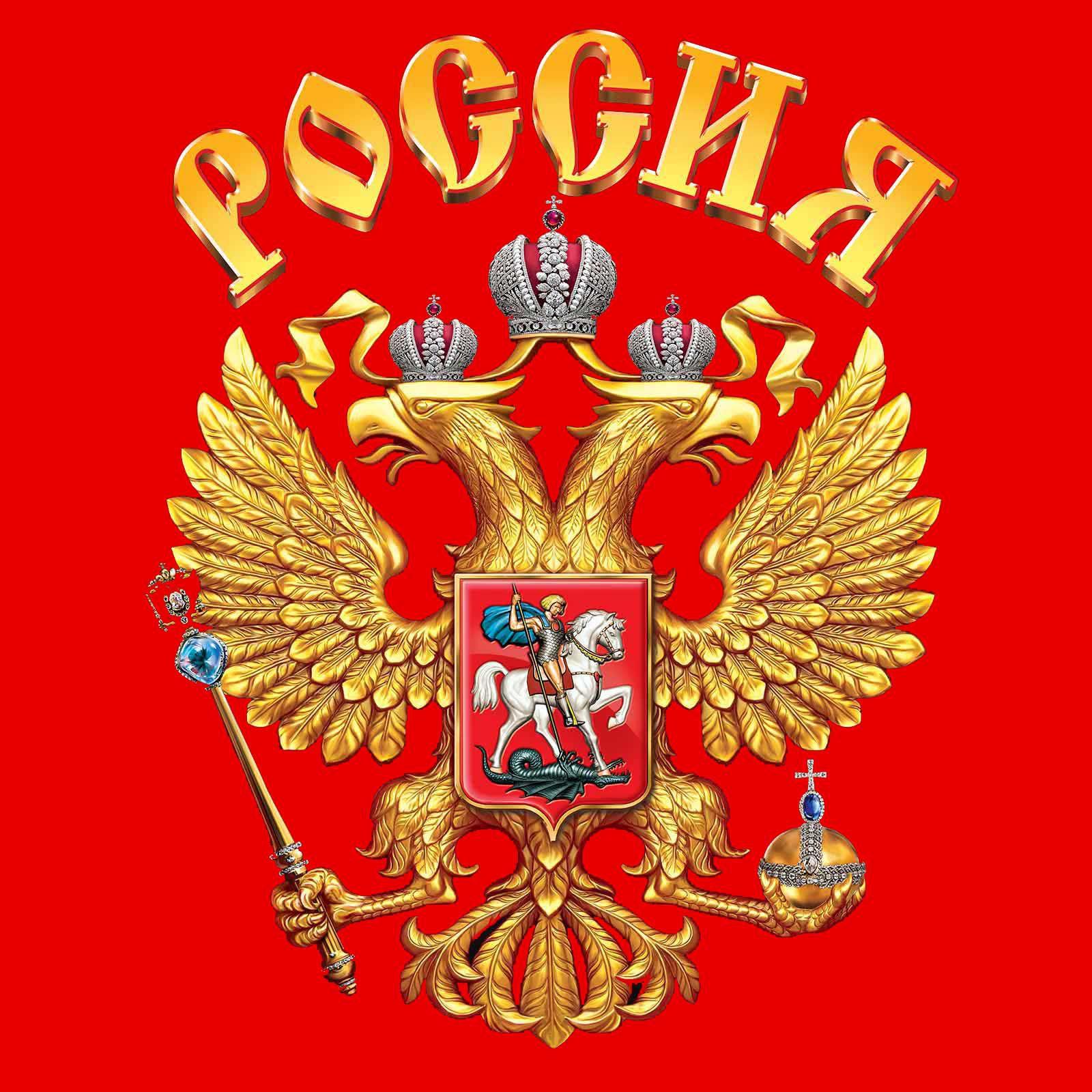 """Майка с надписью """"Россия"""" - принт с гербом"""