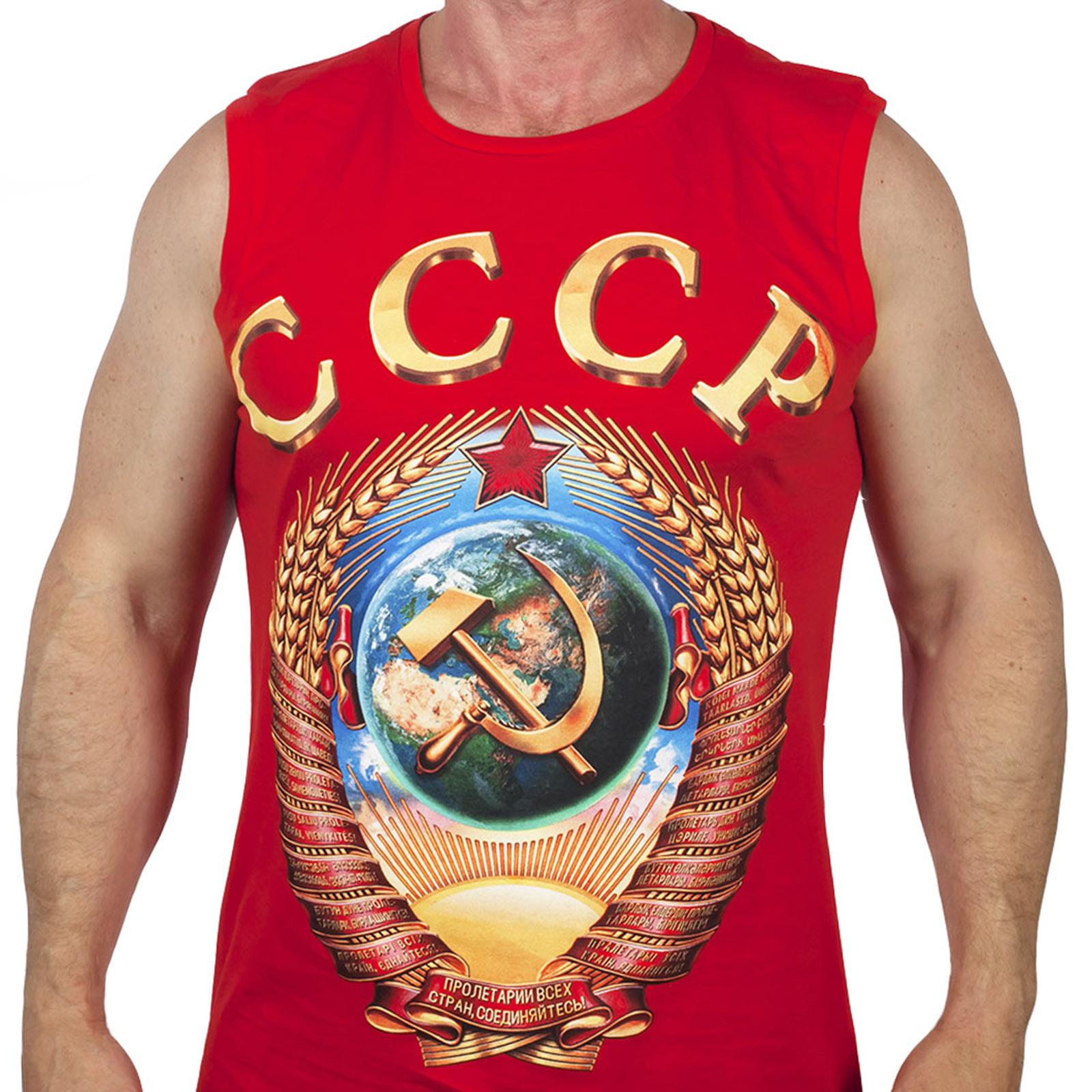 Красная мужская майка ГЕРБ СССР