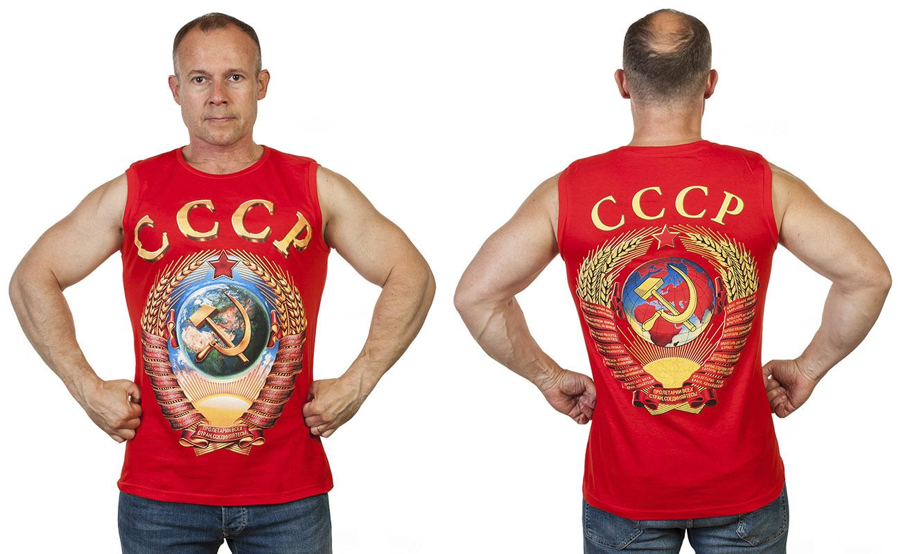 Красная мужская майка с гербом СССР