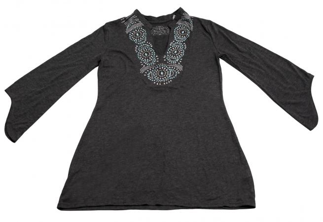 Маленькое серое платье стильного вида Panhandle Slim с потрясным орнаментом