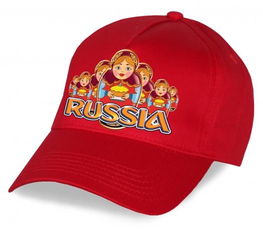 """Мечта патриота и болельщика - красная бейсболка """"Russia"""" с национальными матрешками. Супер-модель лучшего качества по доступной цене. Скорее заказывай, пока не разобрали!"""