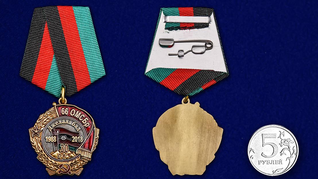 Медаль 30 лет вывода из Афганистана 66 ОМСБр - сравнительные размеры