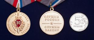 """Медаль """"90 лет ППС. Патрульно-постовая служба России"""" -сравнительный размер"""