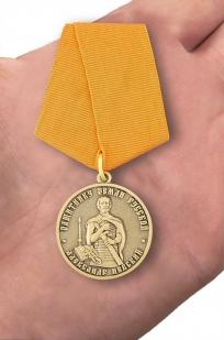 Медаль Александра Невского Защитнику земли русской - вид на ладони
