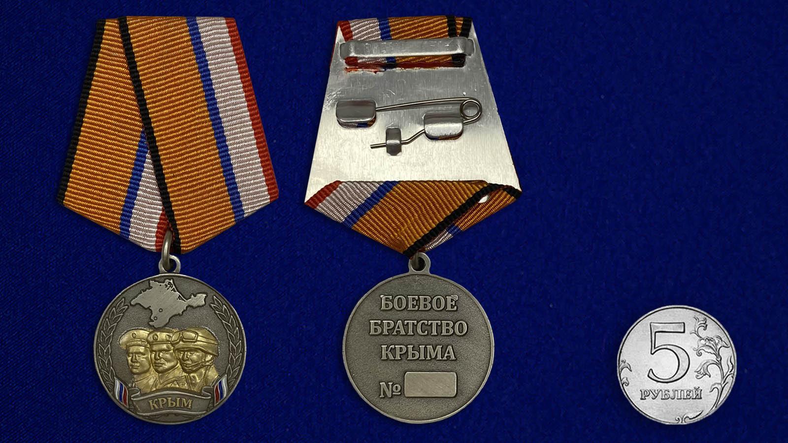"""Медаль """"Боевое братство Крыма"""" - сравнительный размер"""
