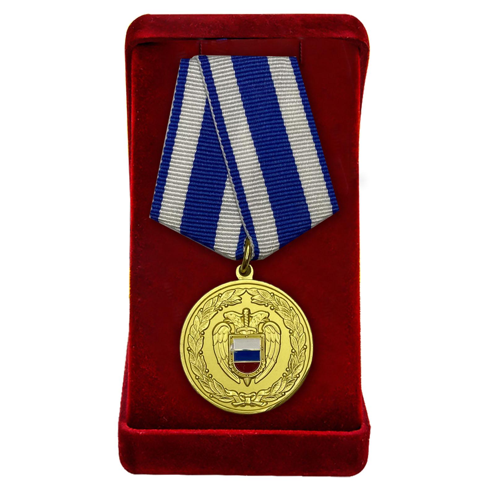 """Медаль ФСО РФ """"За боевое содружество"""" в бархатном футляре"""