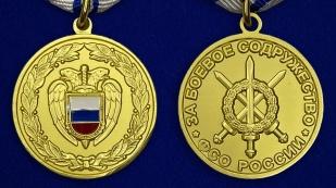 Медаль ФСО РФ За боевое содружество в бархатном футляре - Аверс и реверс