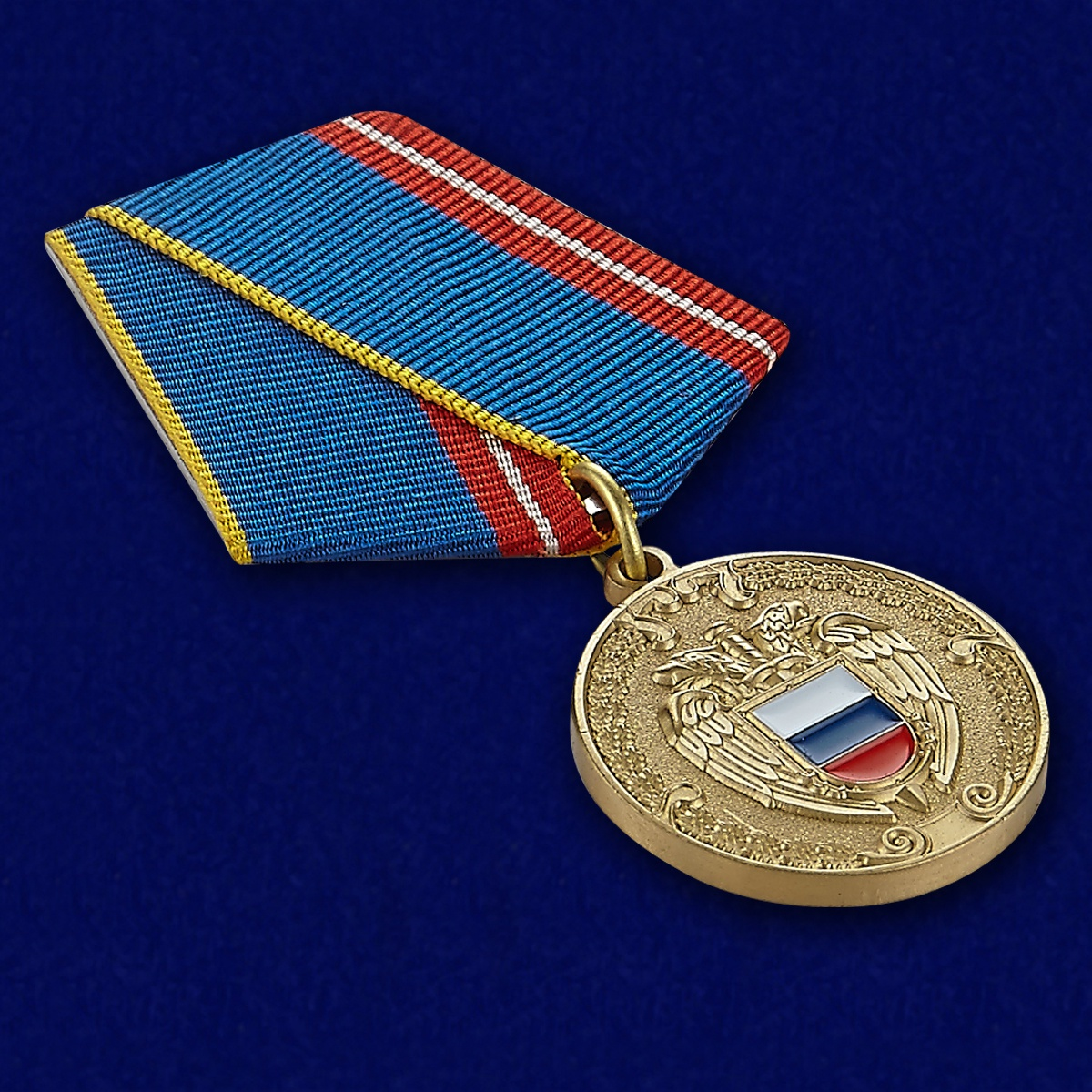 Медаль ФСО РФ За воинскую доблесть в бархатном футляре - Общий вид