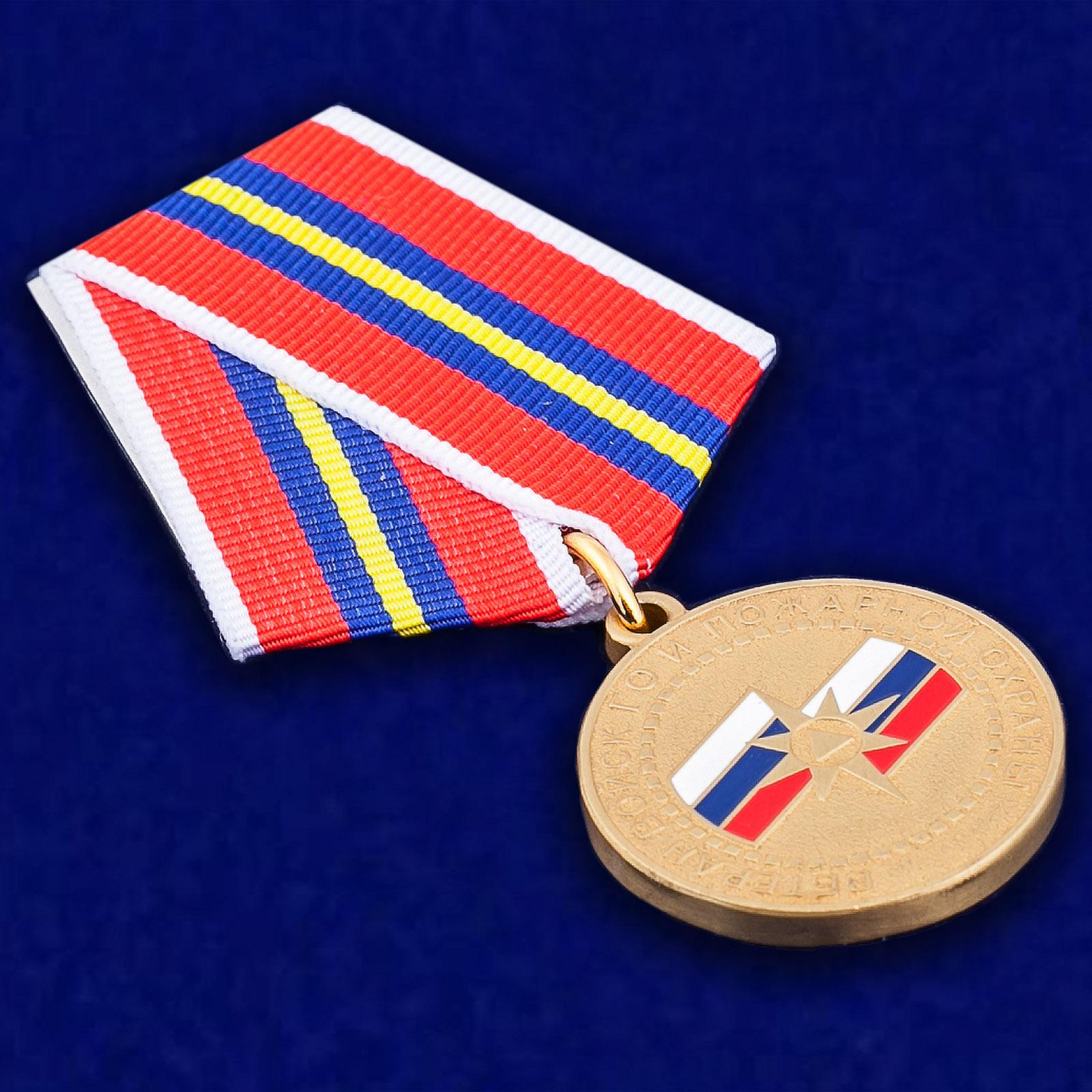 Медаль МЧС России Ветеран войск ГО и пожарной охраны - общий вид
