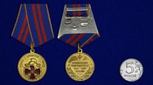 Медаль МЧС За особый вклад в обеспечение пожарной безопасности особо важных государственных объектов - сравнительный размер