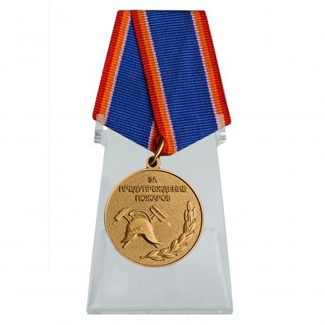 Медаль МЧС За предупреждение пожаров на подставке