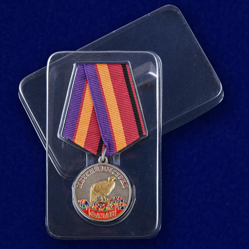 Медаль Меткий выстрел Фазан - в пластиковом футляре